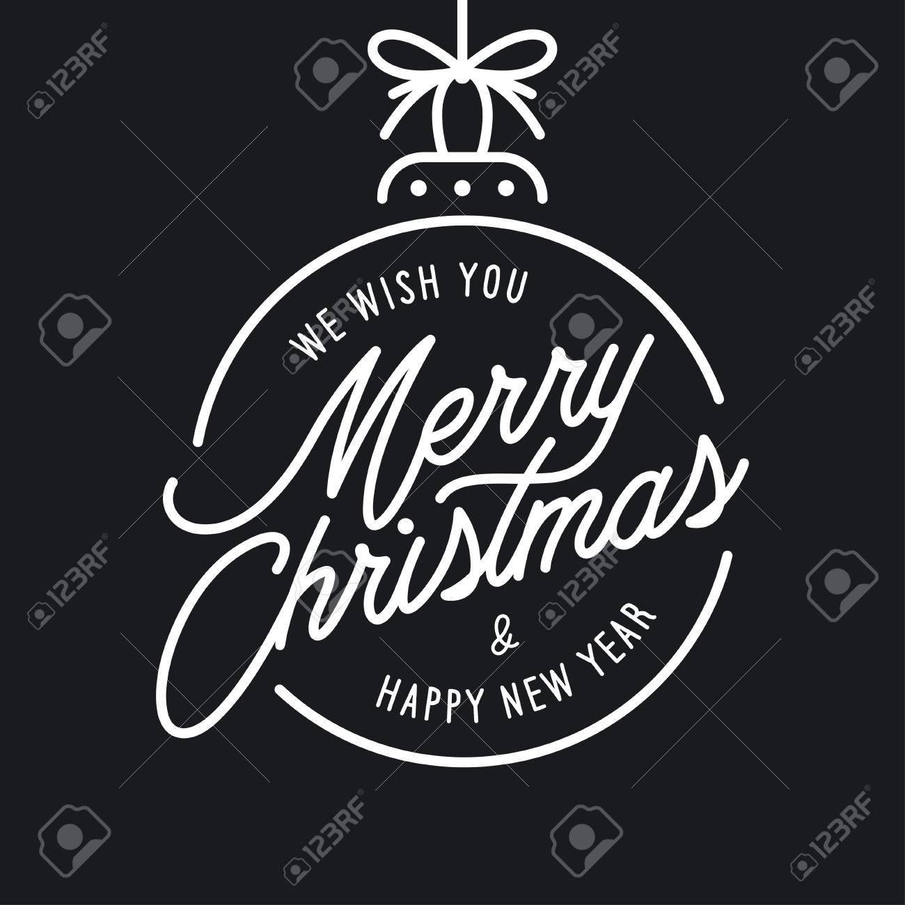 Feliz Navidad Y Plantilla De Letras Feliz Año Nuevo. Tarjeta De ...