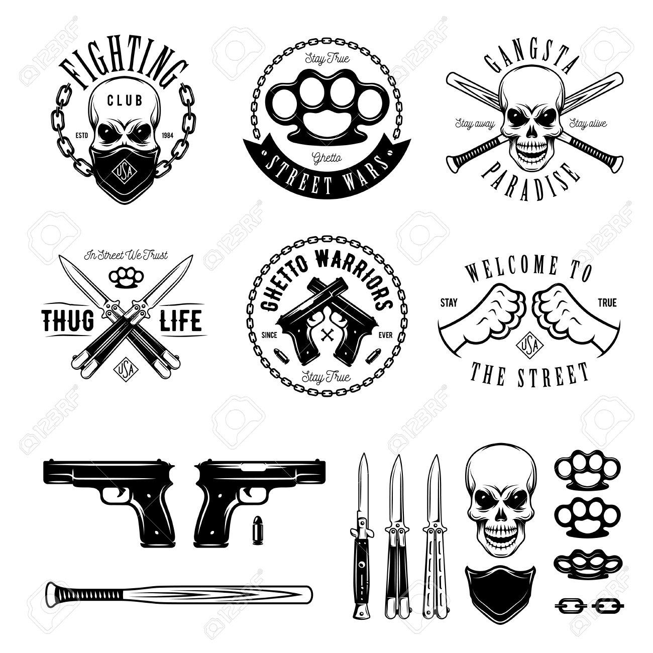 Gangster labels badges emblems design elements set. Gangsta style..