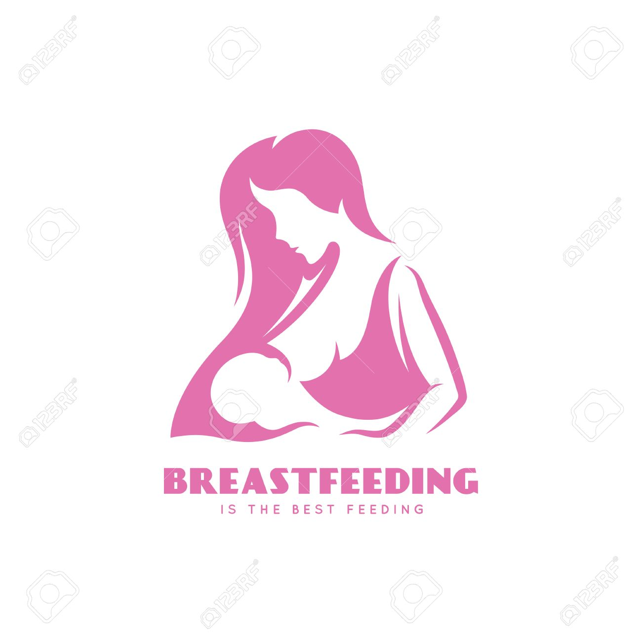 Breastfeeding is the best feedign minimalistic style poster. Breast feeding mother with a child. Vector vintage illustration. - 64411707