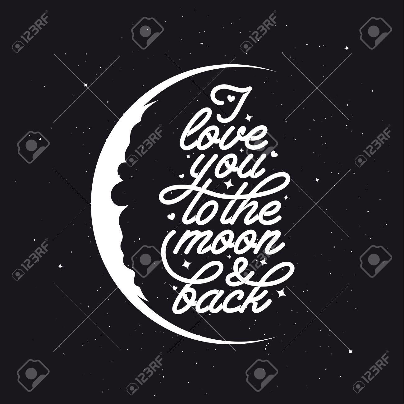 月とに戻ると私がみたい。ロマンチックなベクトル タイポグラフィ