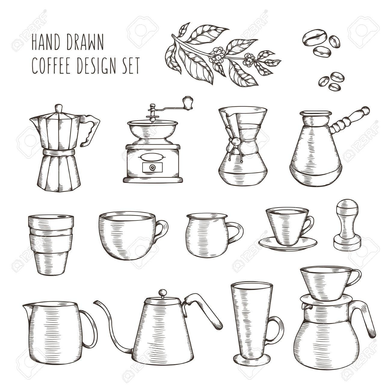 A Mano Insieme Correlato Caffè. Mano Messa Elementi Di Design Per ...