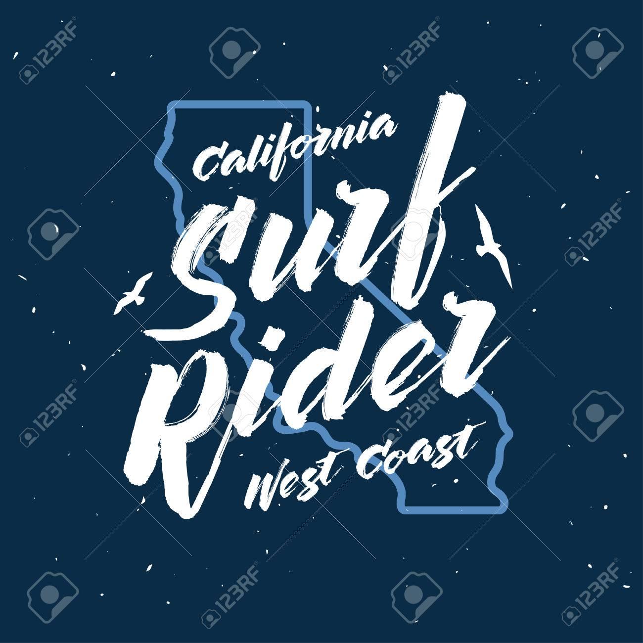 03f25a12930ba Foto de archivo - Jinete de la resaca del cartel de letras. Surfing diseño  de la camiseta relacionada. Ilustración del vector de la vendimia.