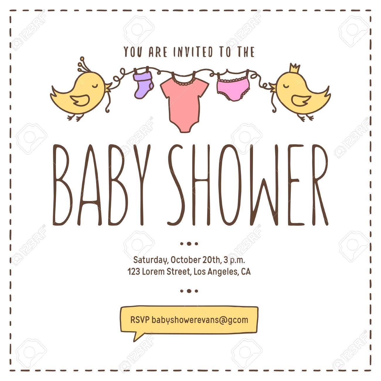 baby shower invitation template cartoon style birds holding