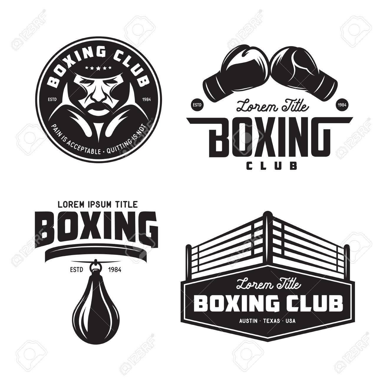 Boxing club labels set. Vector vintage illustration. - 73881422