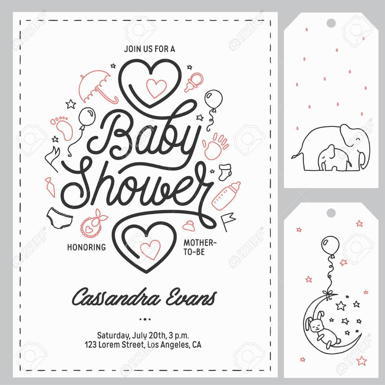 Baby shower invitation templates set hand drawn vintage baby shower invitation templates set hand drawn vintage illustration stock vector 77706173 filmwisefo