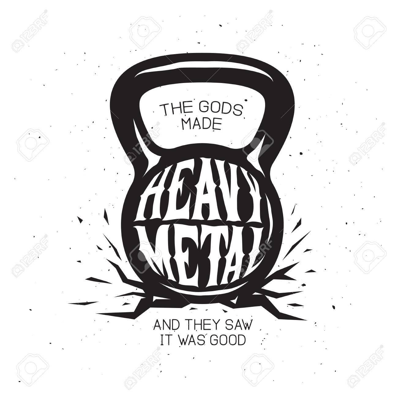 Heavy Metal Kettlebell T Shirt Design Vector Vintage Illustration