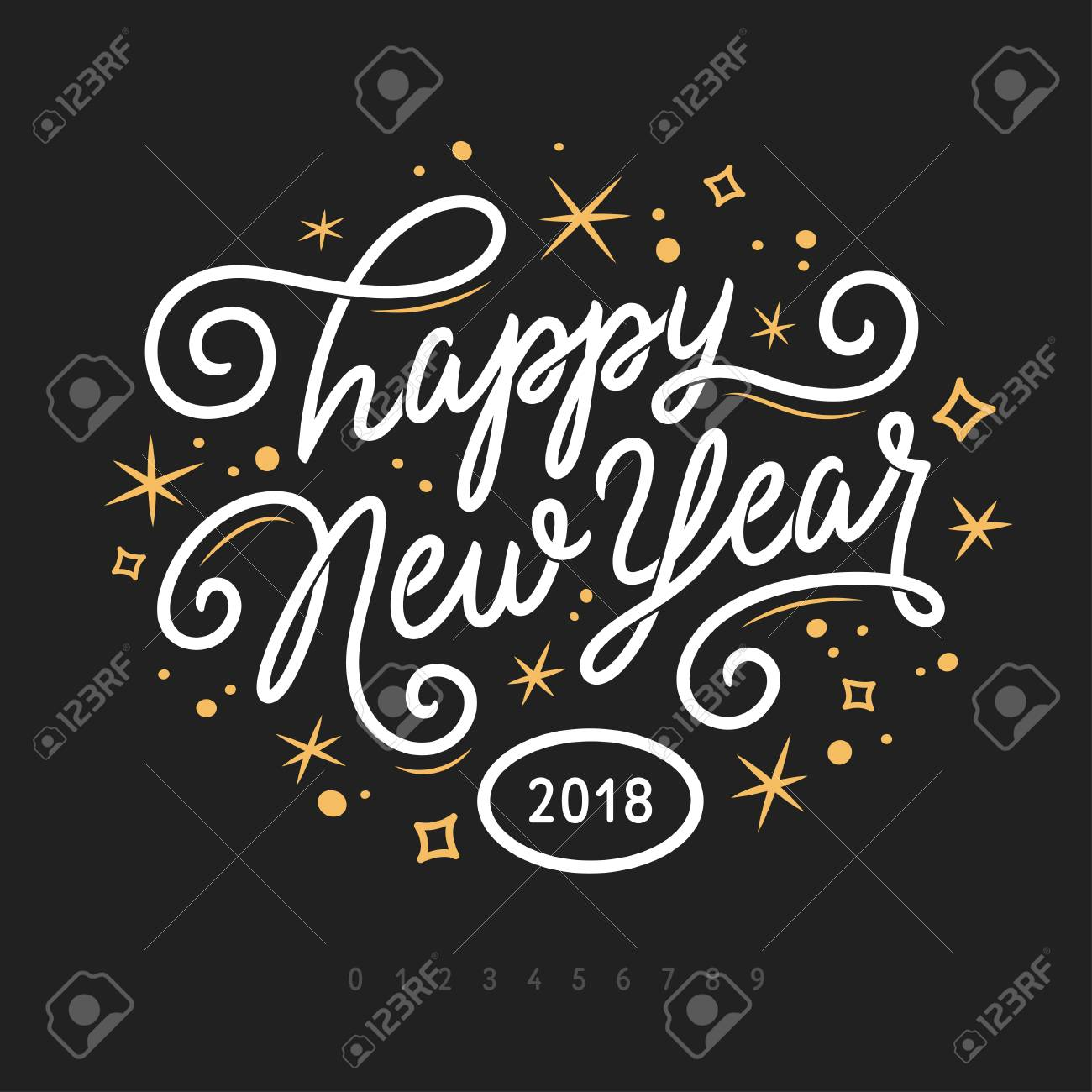 happy new year 2018 lettering template greeting card or invitation vector vintage illustration