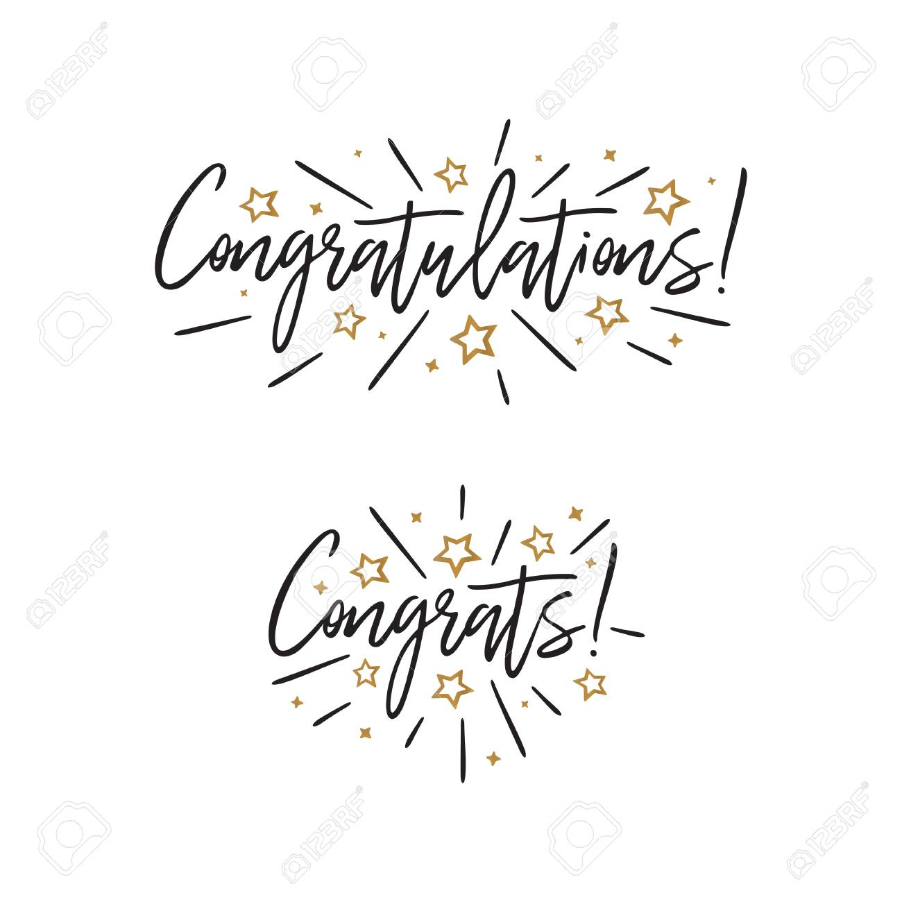 Congratulations. Hand lettering. Vector handwritten typography. - 98181247