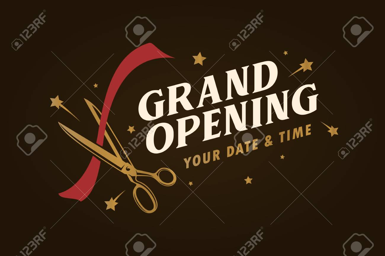 grand opening template banner poster lettering design element for opening ceremony retro