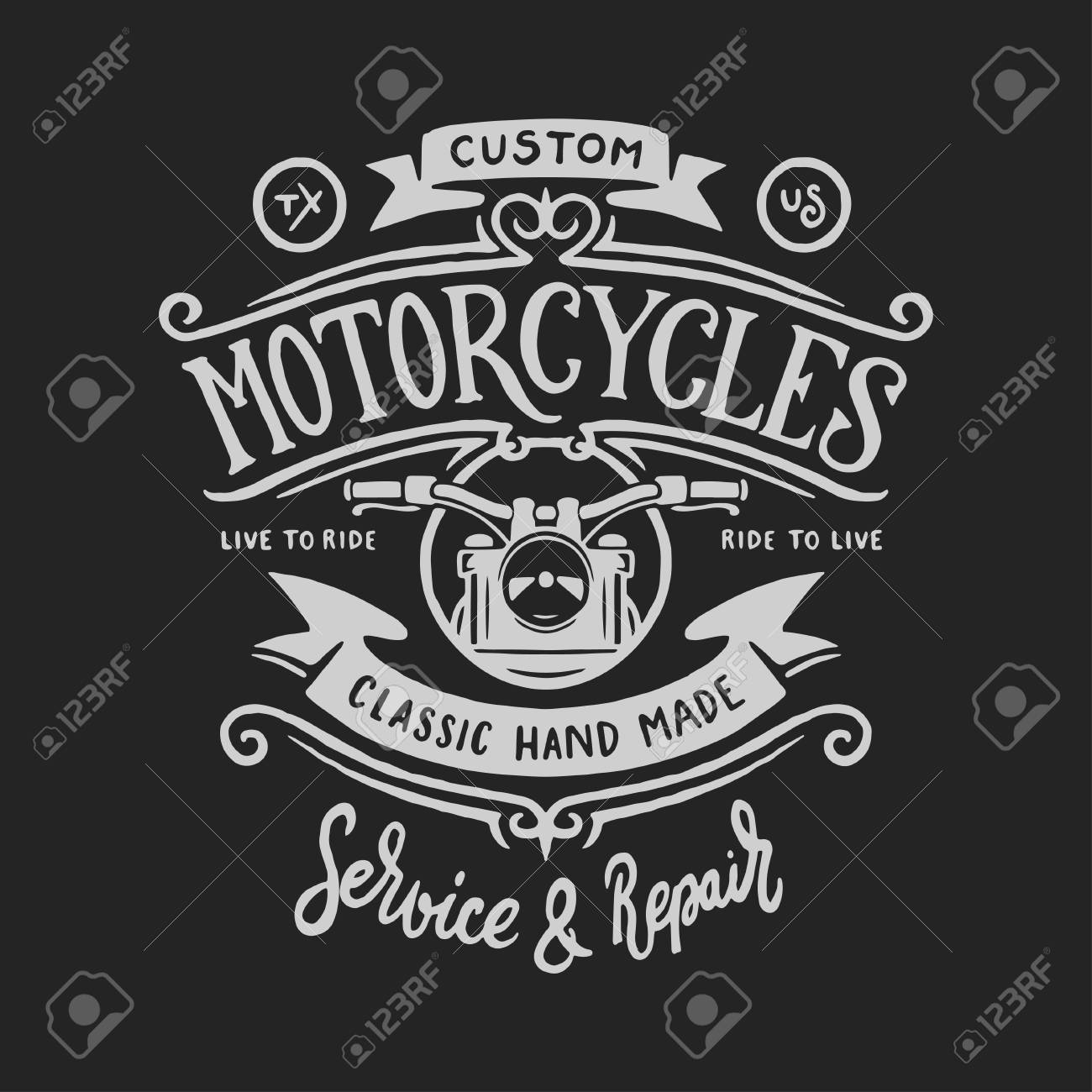 de5cc3cf Vintage motorcycle t-shirt hand drawn graphics. Live to ride quote. Custom  motorcycles