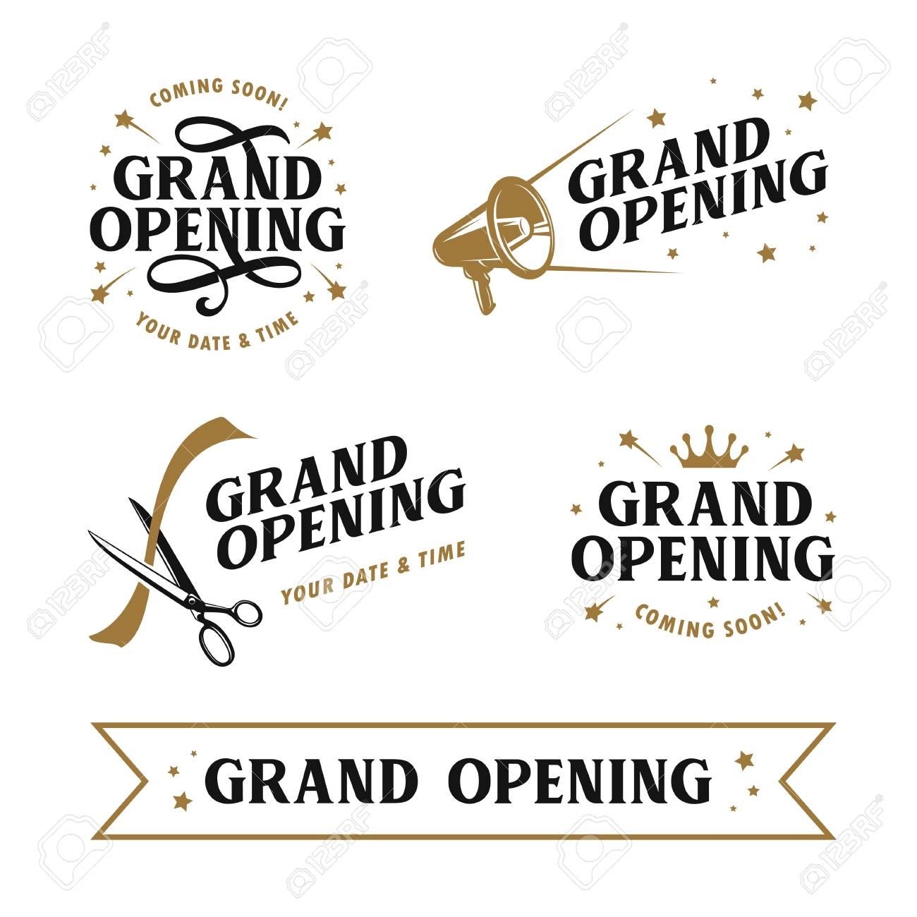 Grand opening templates set. Lettering design elements for opening ceremony. Retro style typography. Vector vintage illustration. - 110505276