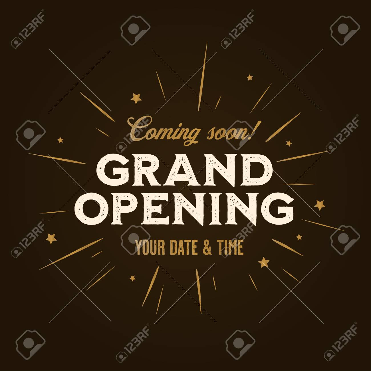Grand opening template, banner, poster. Lettering design element for opening ceremony. Retro style typography. Vector vintage illustration. - 110505277