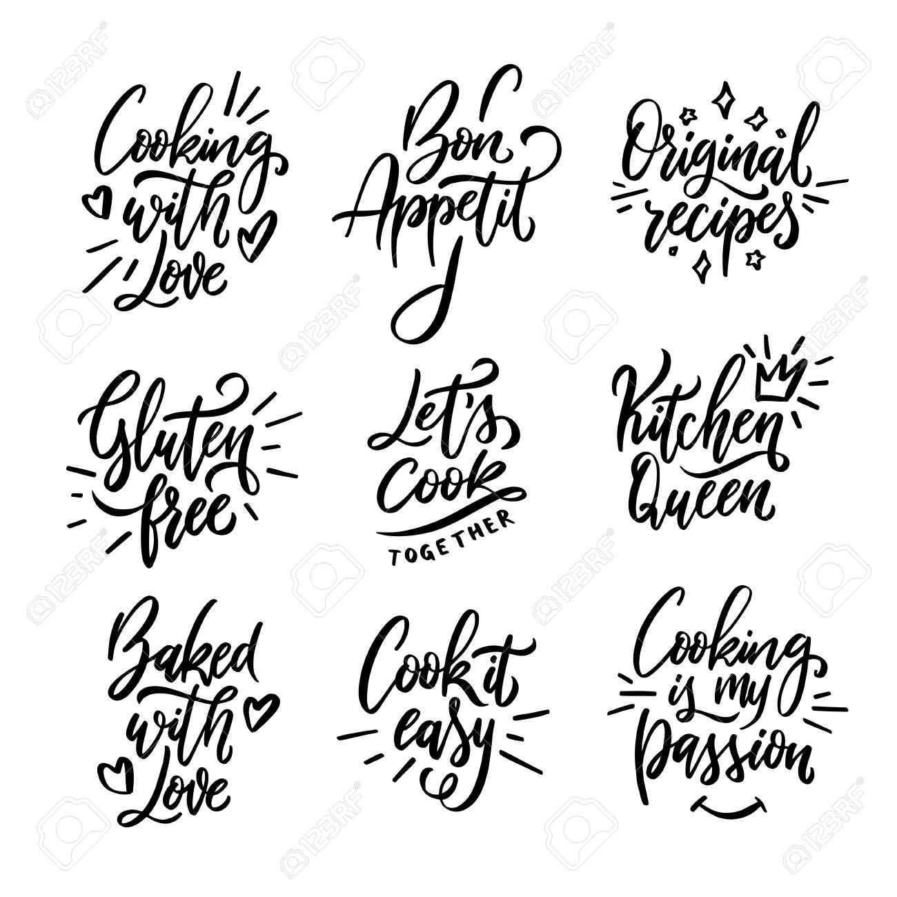 Cooking related quotes collection. Hand drawn kitchen calligraphy. Gluten free. Cooking with love. Cook it easy. Kitchen queen. Original recipes. Typography design elements set. Vector illustration. - 110059137