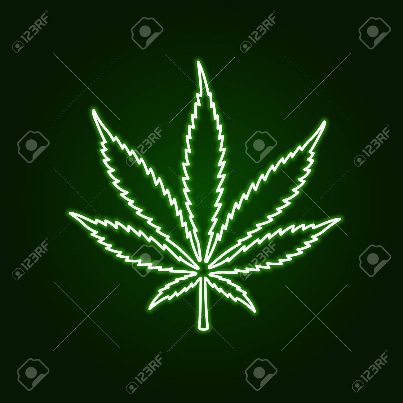 Cannabis marijuana neon glowing sign on dark background. Vector illustration. - 108155686