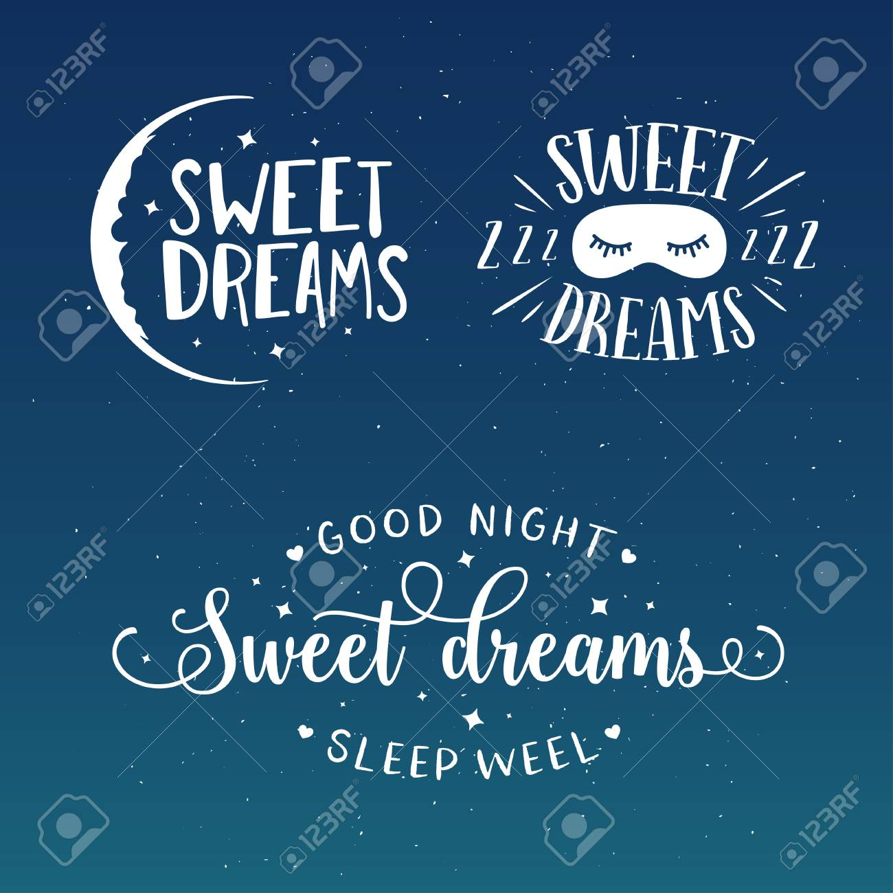 Sweet Dreams Good Night Typography Set Sleeping Related Lettering
