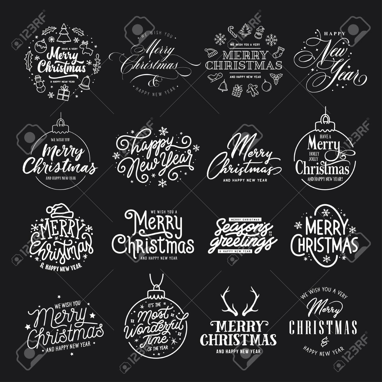 Merry Christmas and Happy New Year typography set. Vector vintage illustration. - 109249430