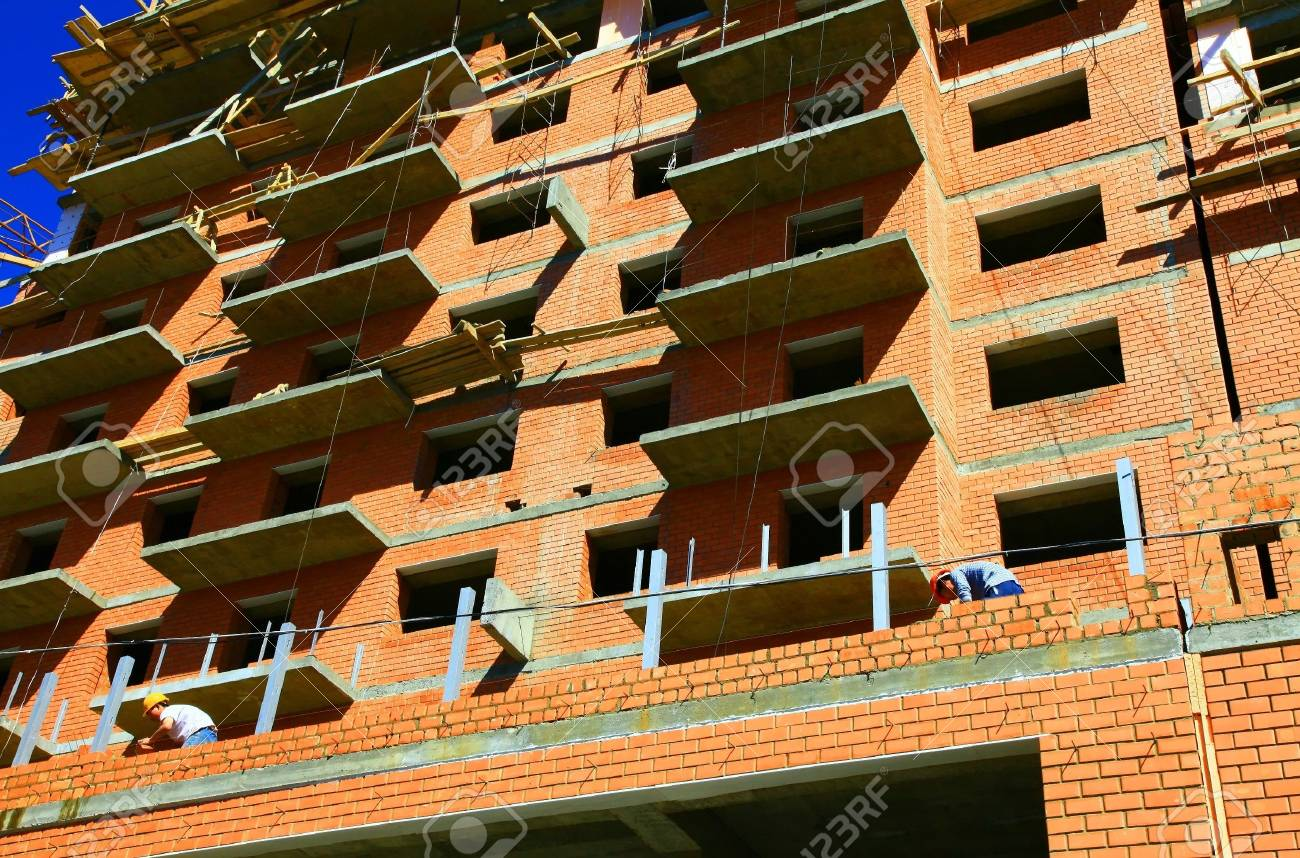 Part of the house under construction. Day. Stock Photo - 7928336