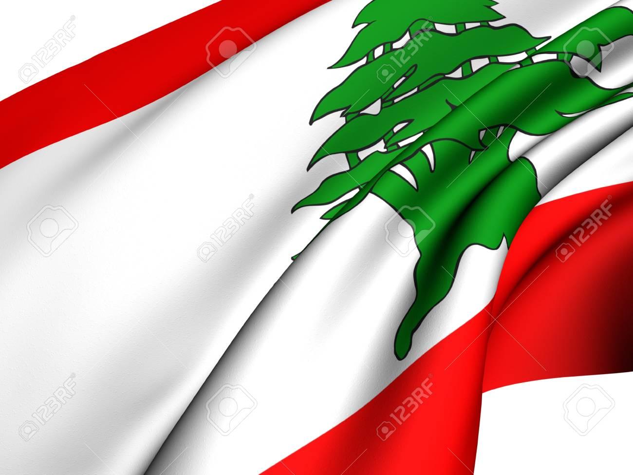 Flag of Lebanon against white background. Close up. Stock Photo - 8557651