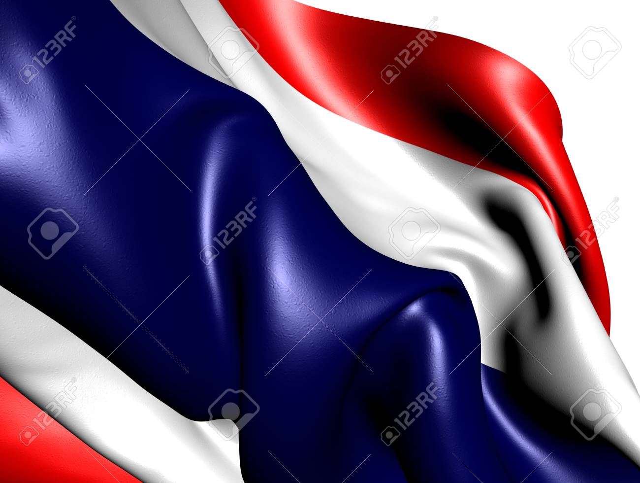 Flag of Thailand against white background. Close up. Stock Photo - 9428557