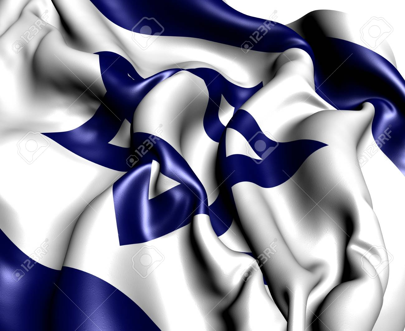 Flag of Israel against white background. Close up. Stock Photo - 9657664