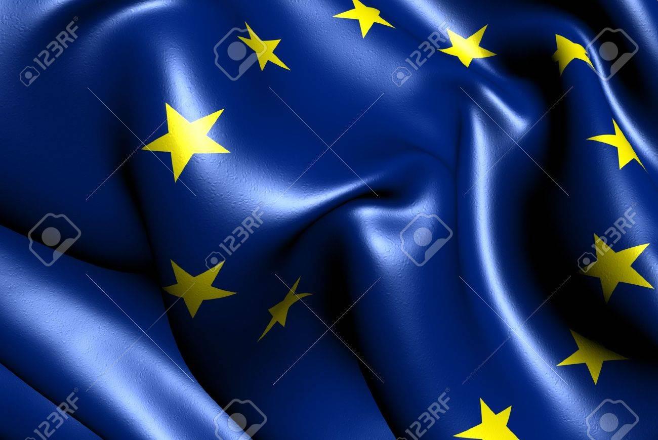 Flag of EU. Close up. Stock Photo - 9764296