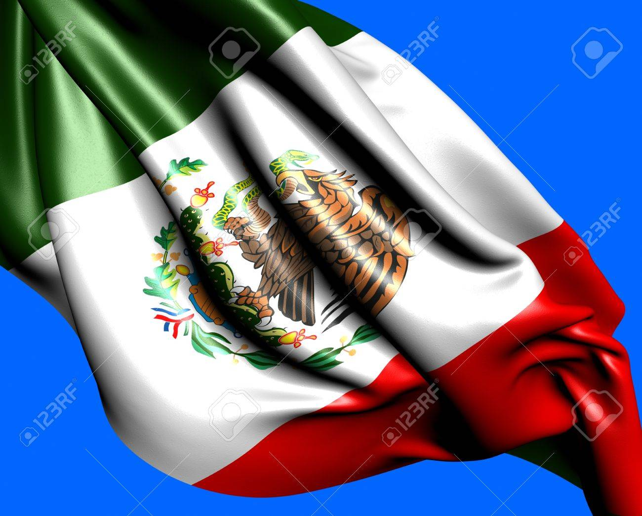 Flag of Mexico against blue background. Close up. Stock Photo - 10057056