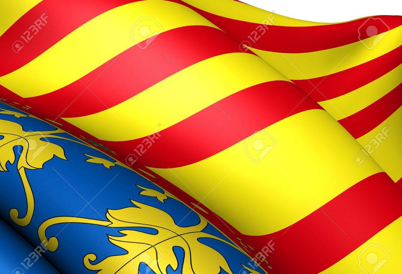 Flag of Valencia. Close up. Stock Photo - 10649666