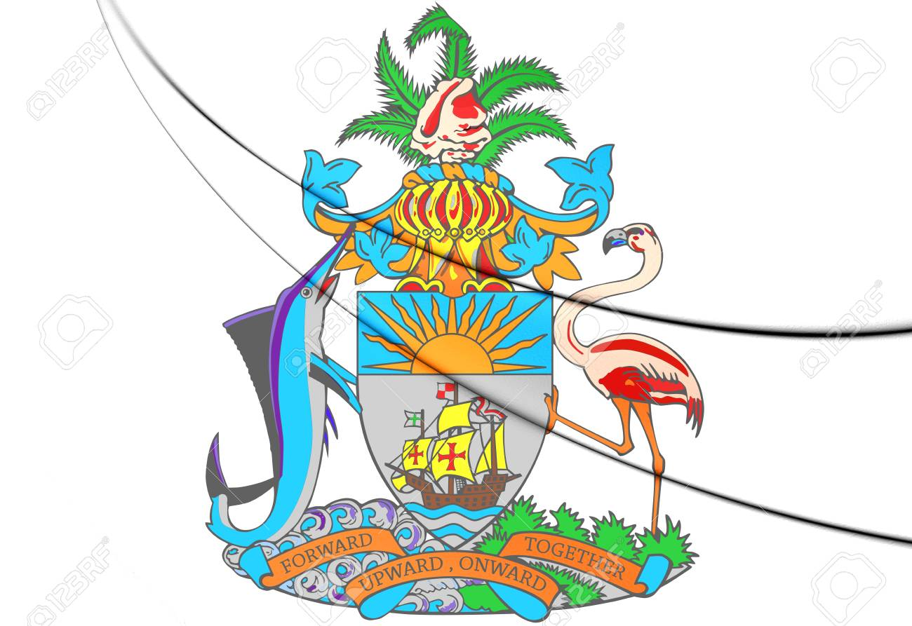 バハマの国章。3 D イラスト。 の写真素材・画像素材 Image 70020033.