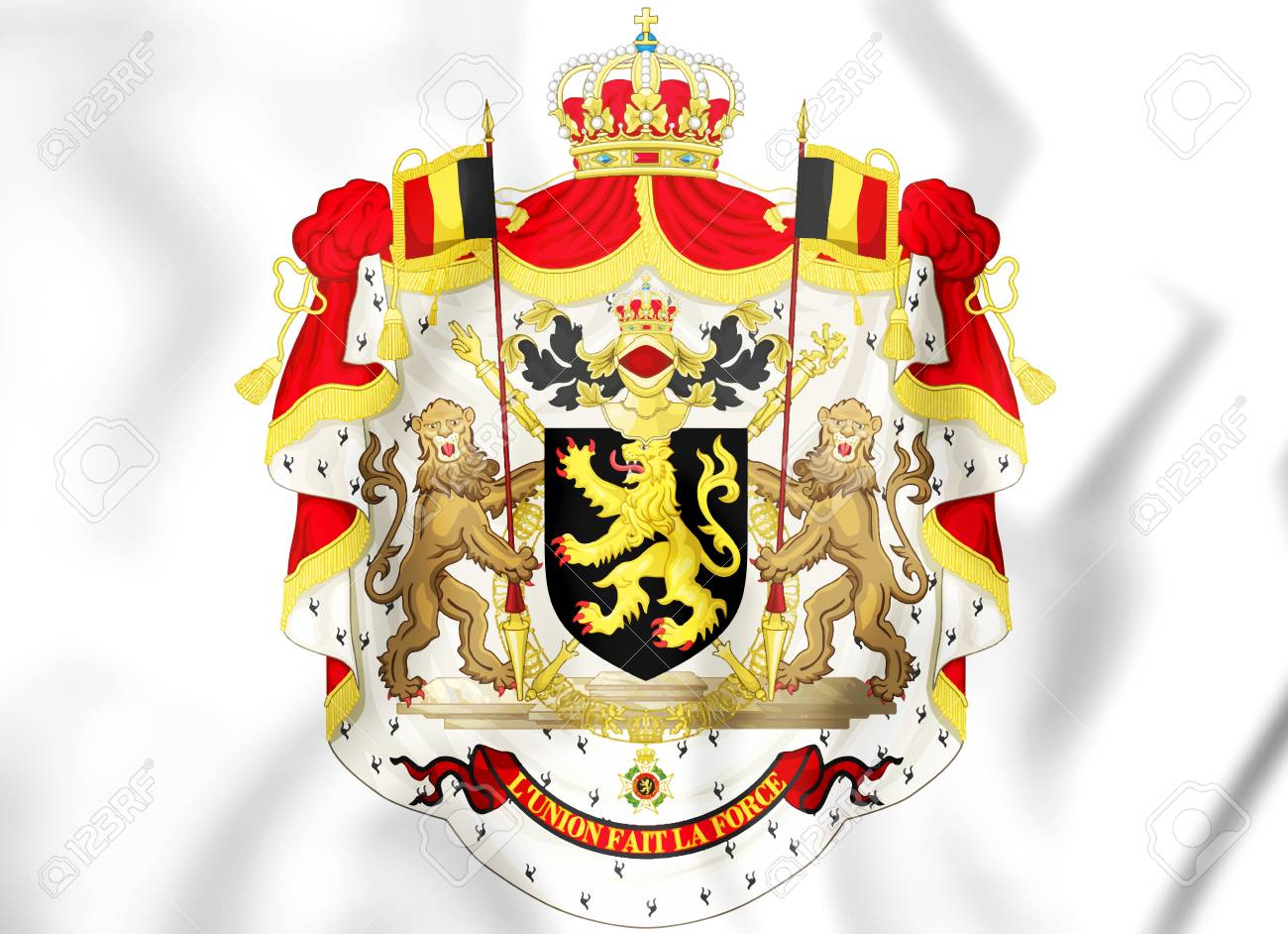 3D Belgium Coat Of Arms. 3D Illustration. Stock Photo, Picture And ...