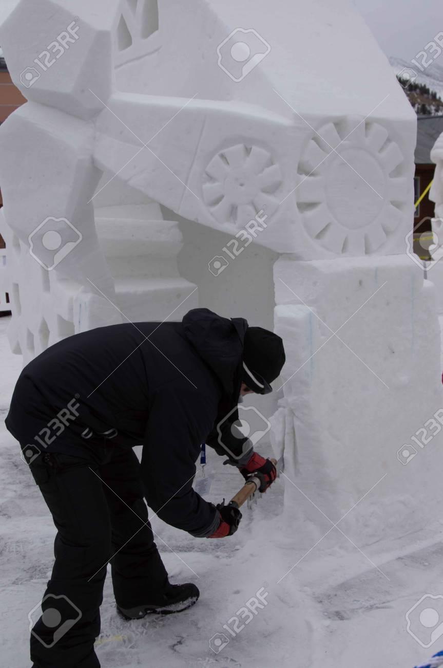 Breckenridge, Colorado  01/26/2013- Ice Sculpture Competition Mexico Stock Photo - 17838403