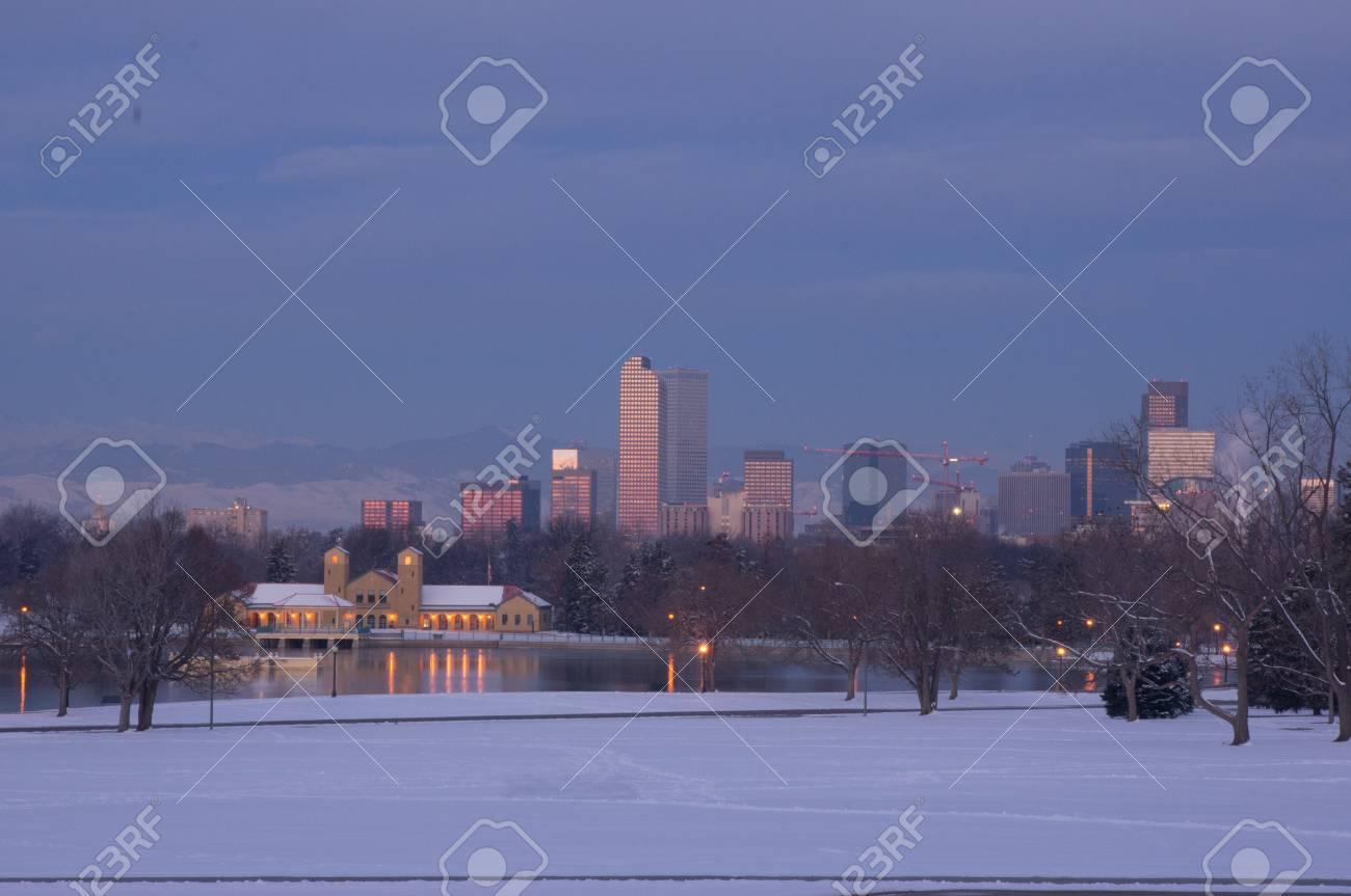 Downtown Denver Skyline at Dawn Stock Photo - 18082744