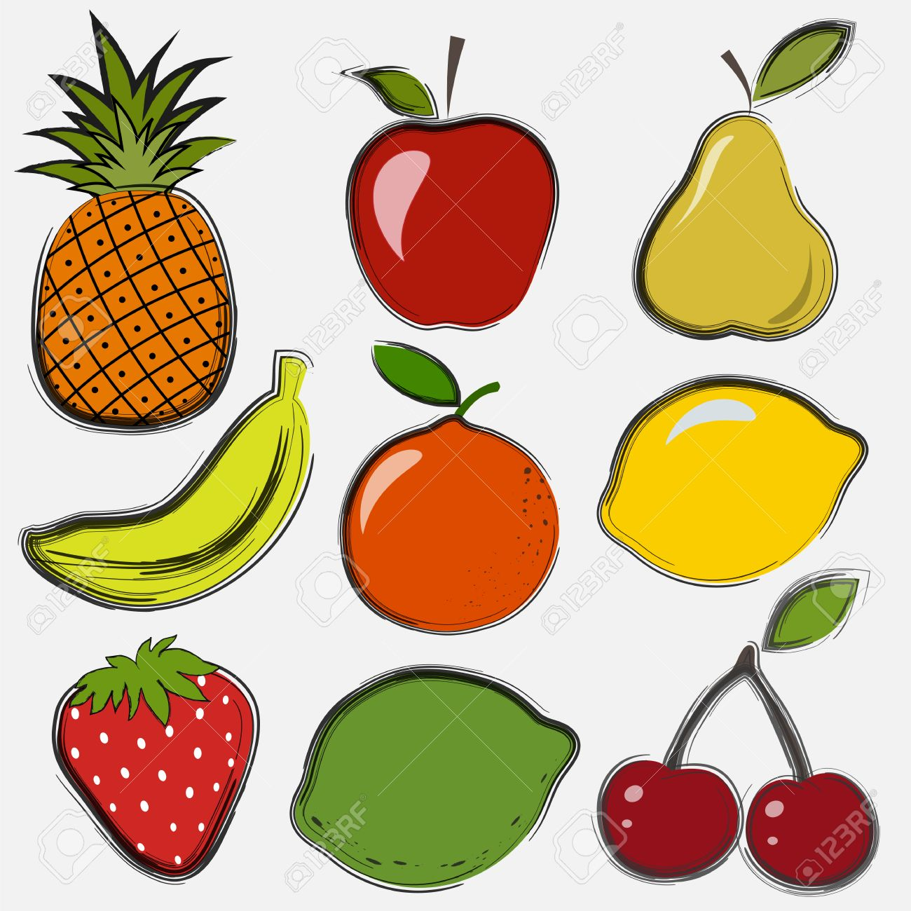 set of fruits and berries in a drawing style royalty free cliparts