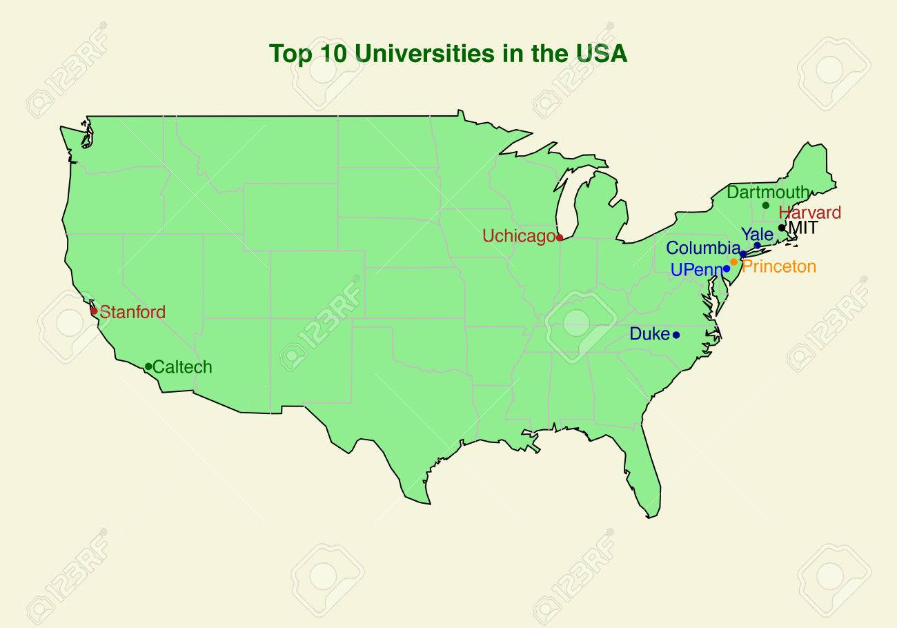 map of top ten 10 university in the usa stock vector 25307628