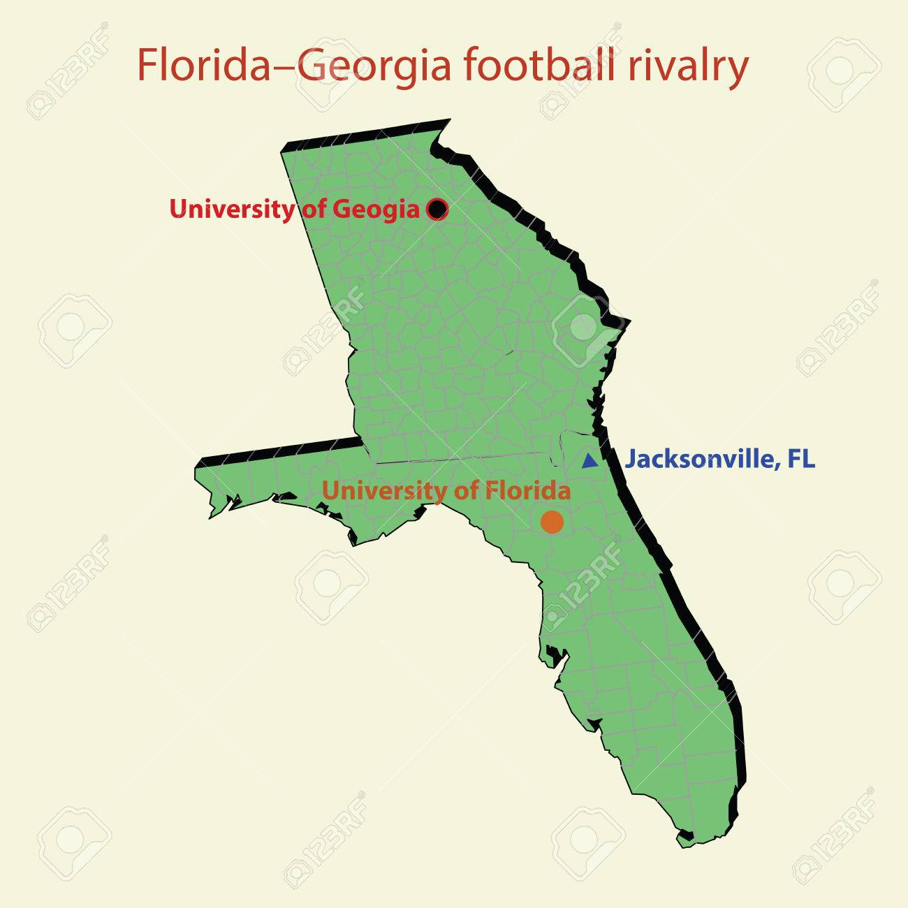 D Map Florida Georgia Football Rivalry In Jacksonville Royalty - Florida to georgia map