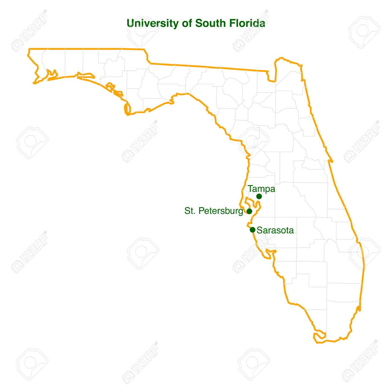 The Vector Map Of The University Of South Florida Usf Three - South florida map