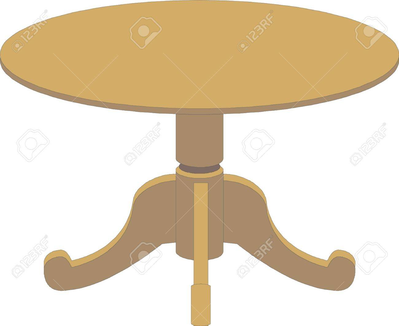 Houten ronde tafel op wit wordt geïsoleerd royalty vrije cliparts