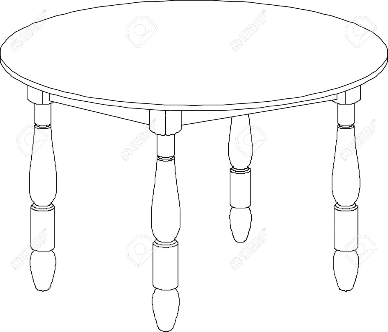 Round Table Drawing Stock Vector
