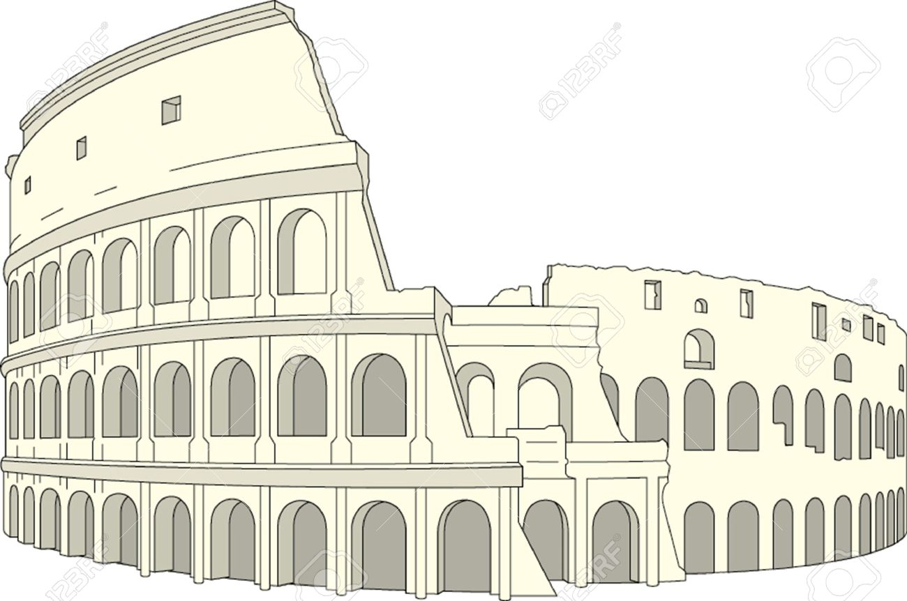 Dibujo Coliseo Roma Italia Ilustración Vectorial Ilustraciones