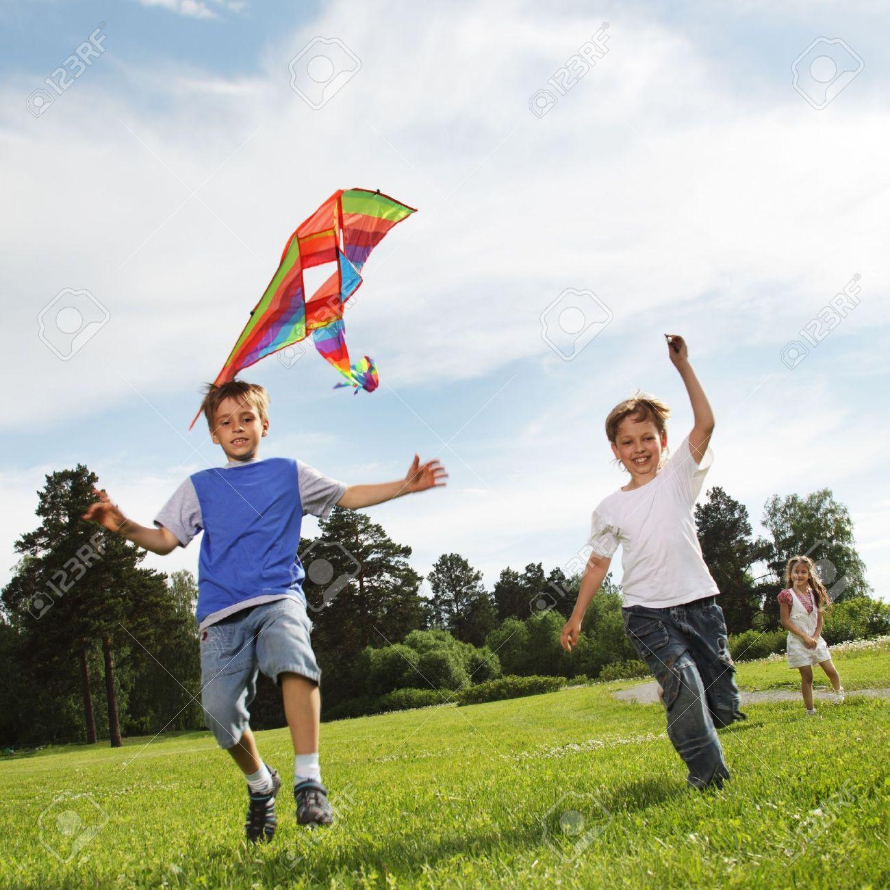 two happy boy with kite Stock Photo - 9929245