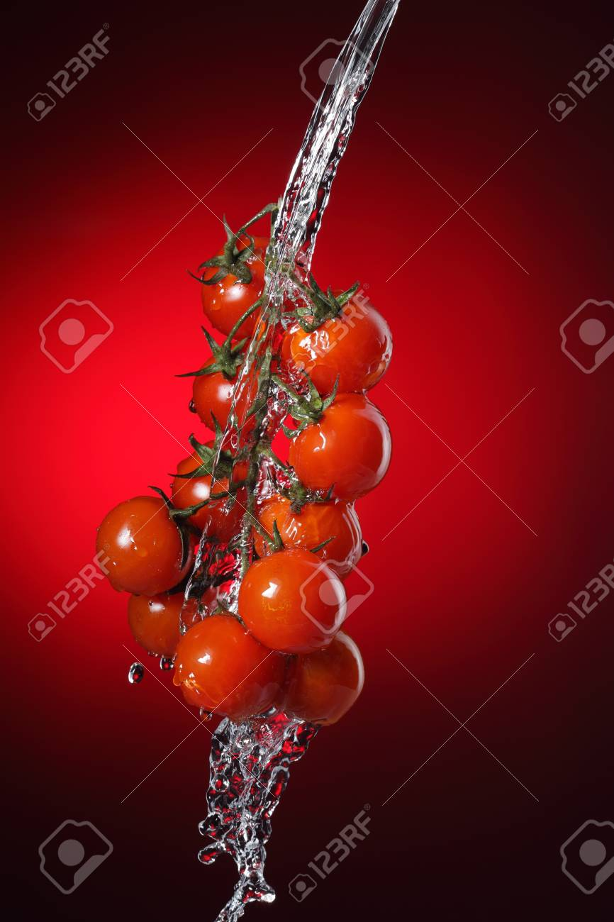 cherry tomato in water splash Stock Photo - 11173045