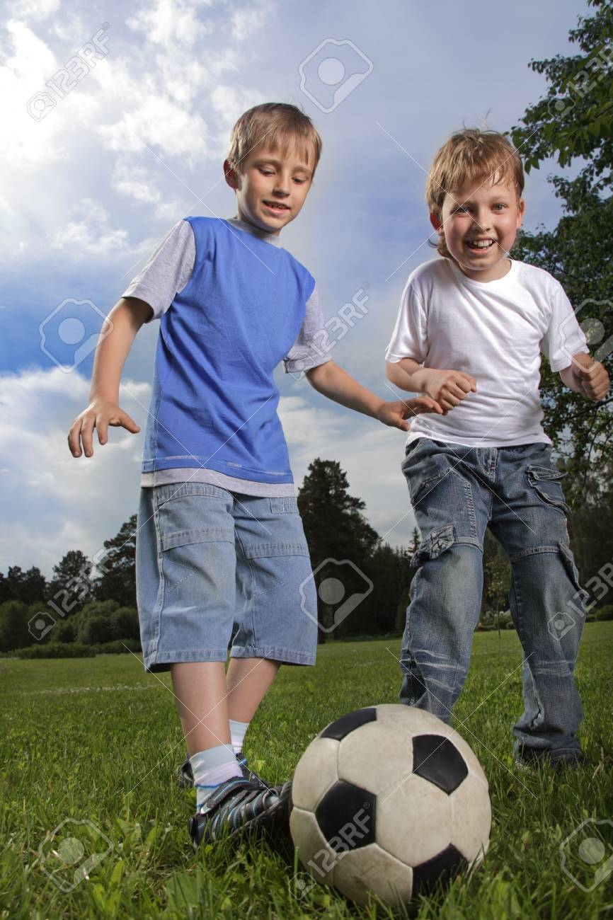 two happy boy play in soccer Stock Photo - 13899880