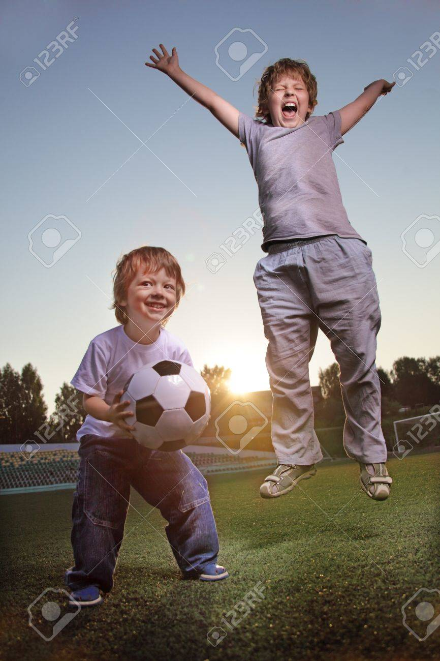 two happy boy play in soccer Stock Photo - 14243122