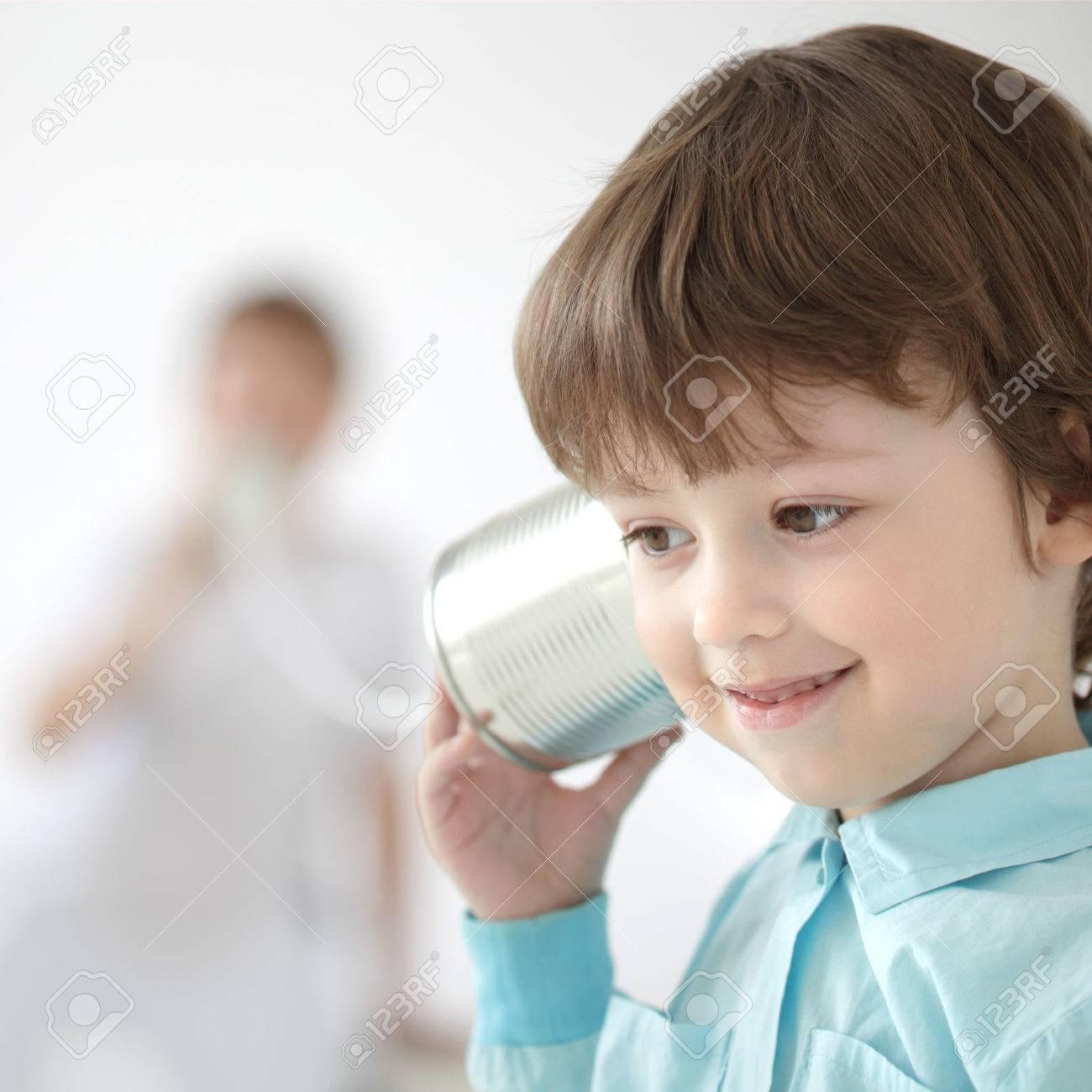 beauty boy listen tin can telephone - 23807378