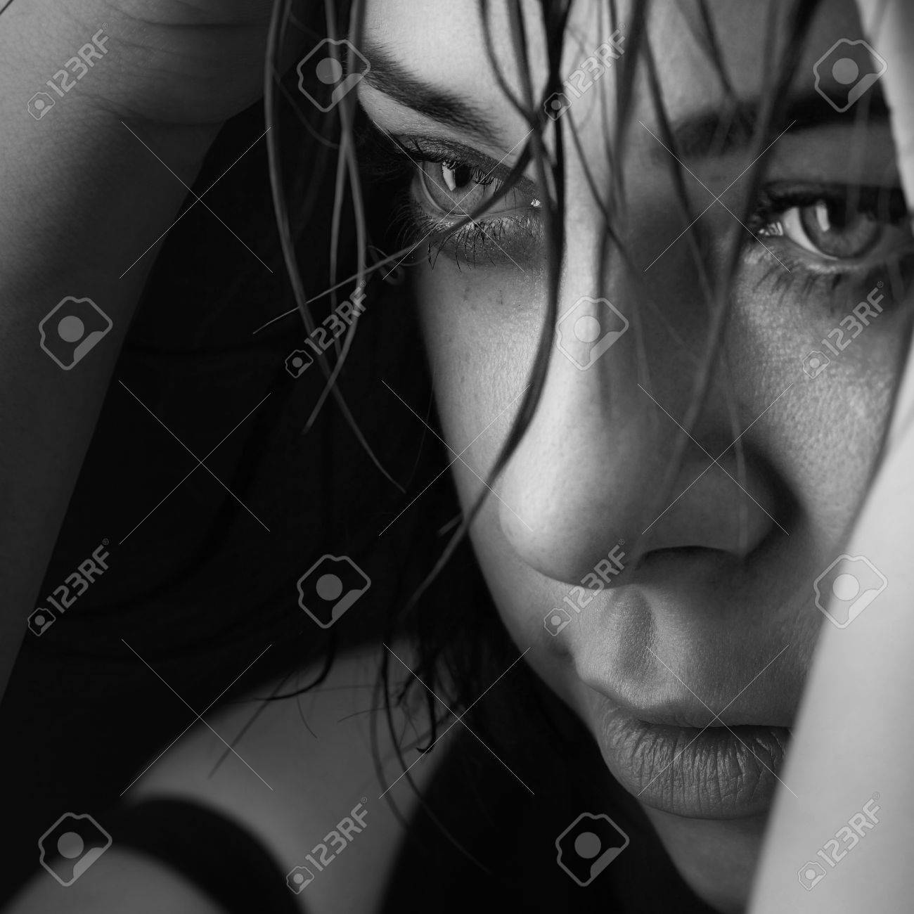 beauty girl cry on black background - 34175858