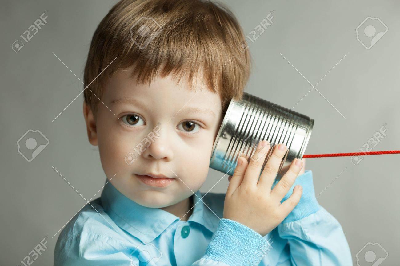 beauty boy listen tin can telephone - 45166104