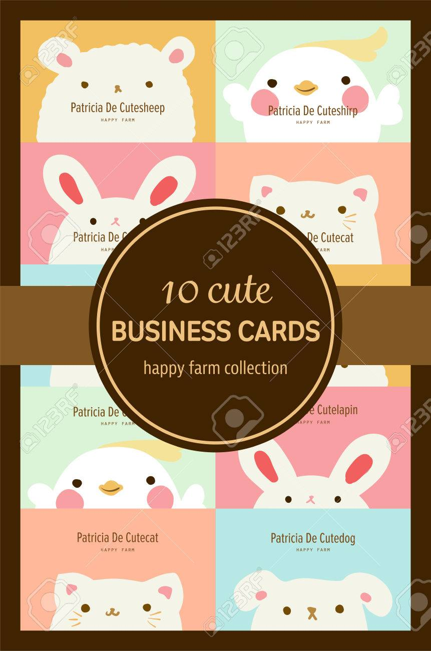 Ten Cute Pastel Animal Business Cards Or Labels Template Royalty