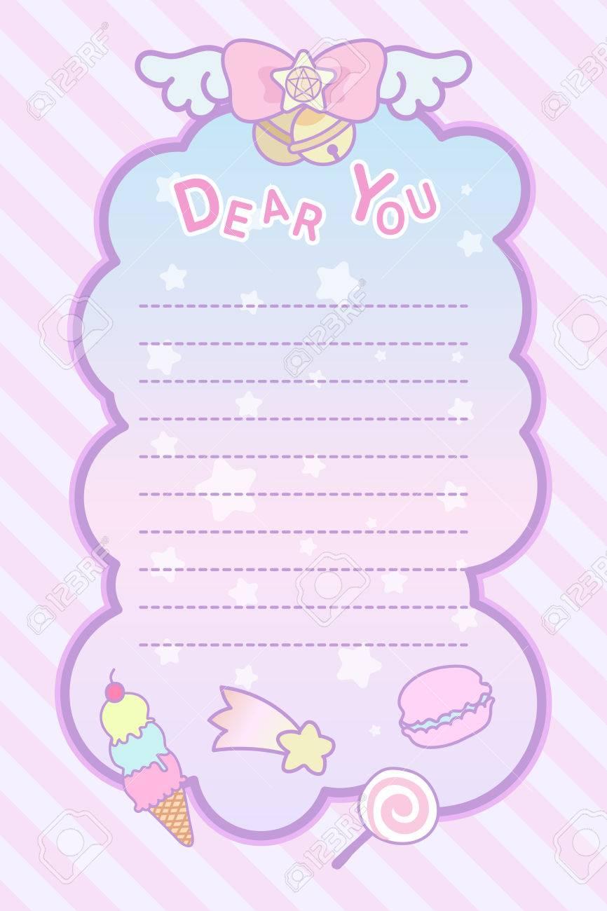 かわいいパステル調の不思議な素敵なりぼんと甘い手紙テンプレートの