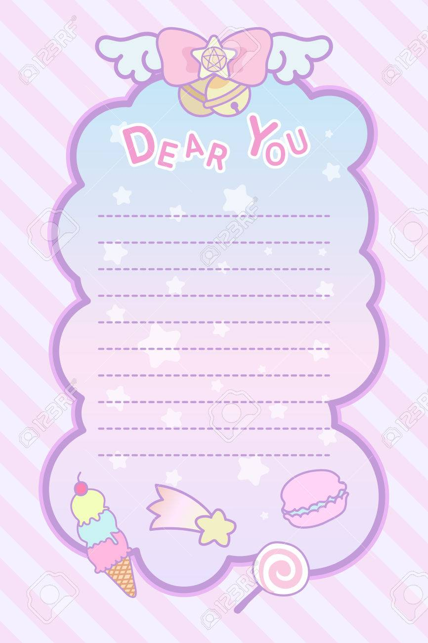 cute pastel magical lovely ribon and sweet letter template royalty