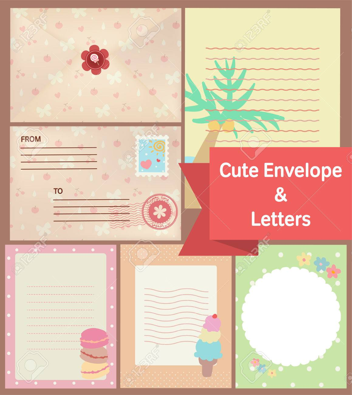Cute vintage pastel letters and envelope paper template stock photo cute vintage pastel letters and envelope paper template stock photo 43137354 maxwellsz