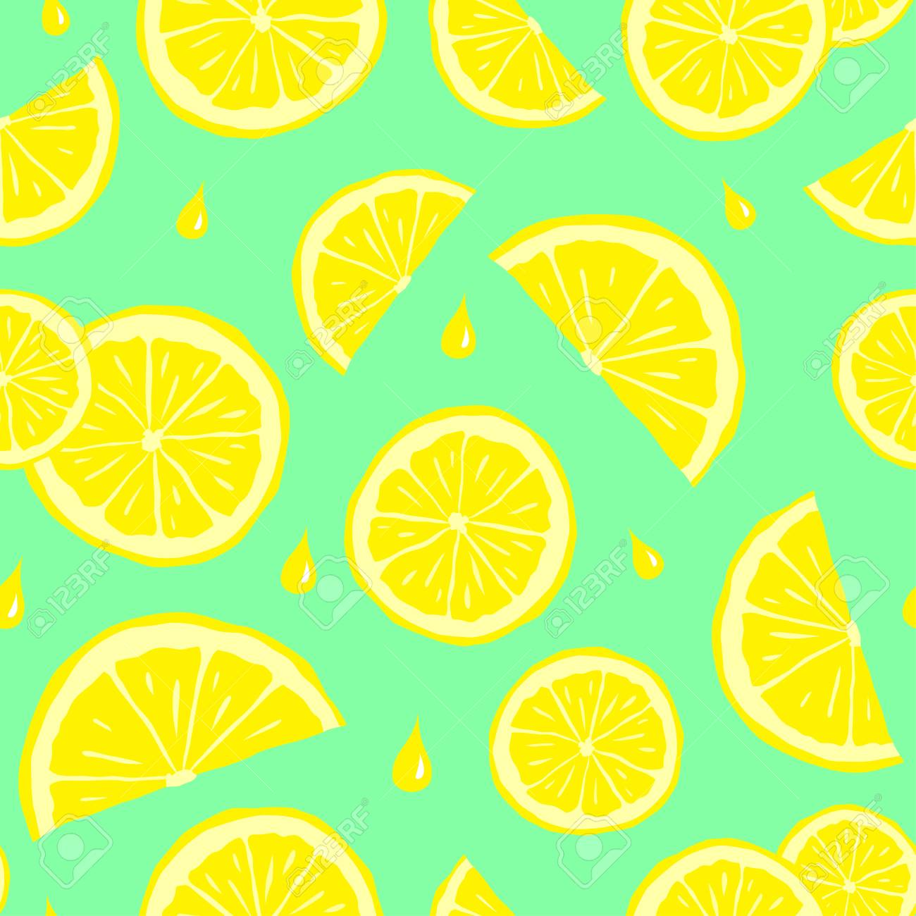 A Seamless Pattern With Lemons Cute Seamless Pattern With Yellow